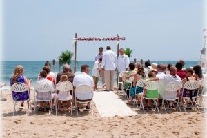 guests on beach at wedding