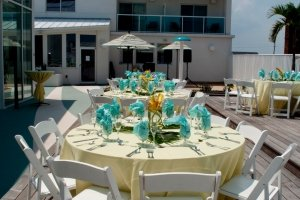 tables set for outdoor wedding