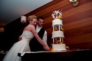 bride and groom cutting weddign cake