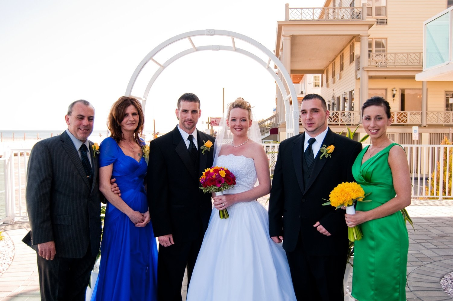 bride and groom and family